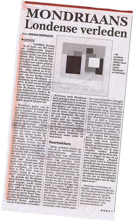Newspaper clipping Mondriaan